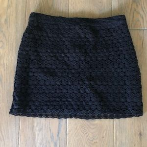 Black Crocheted Mini Skirt